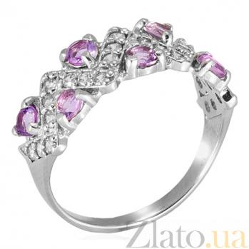 Серебряное кольцо с цирконием цвета аметист Классика  Классика к