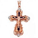 Золотой крест с эмалью и фианитами Исповедь
