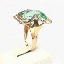 Золотое кольцо Сан-Франциско с аметистом и фианитами
