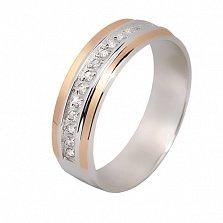 Серебряное кольцо Элида с фианитами и золотой вставкой