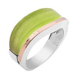 Серебряное кольцо с золотой вставкой и оливковым улекситом 000095493