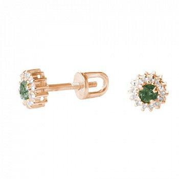 Золотые серьги с бриллиантами и изумрудами 000021972