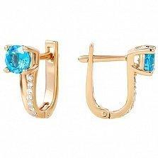 Золотые серьги Бонита с голубым топазом и фианитами