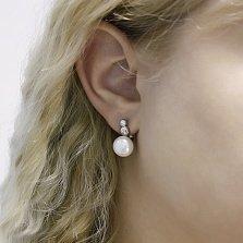 Серебряные серьги Камилла с белым жемчугом и фианитами