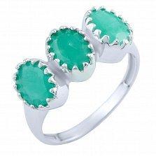 Серебряное кольцо Нитья с изумрудами