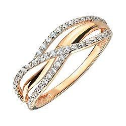 Золотое кольцо в комбинированном цвете с фианитами 000141412