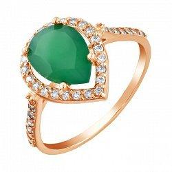 Золотое кольцо с зеленым ониксом и фианитами 000042524