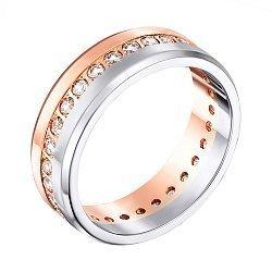 Золотое обручальное кольцо в комбинированном цвете с цирконием  000006396