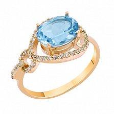 Кольцо в красном золоте Диана с голубым топазом и фианитами