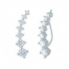 Серебряные серьги-каффы Светлана с фианитами