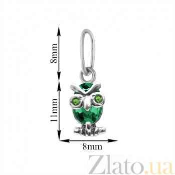 Серебряный кулон Строгая сова с зелеными фианитами 000082711