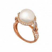 Золотое кольцо Мария-Антуанетта с жемчужиной и фианитами