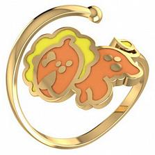 Золотое кольцо Львенок с эмалью