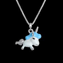 Детское серебряное колье Единорог с эмалью