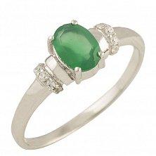 Серебряное кольцо Кароль с зеленым агатом и фианитами