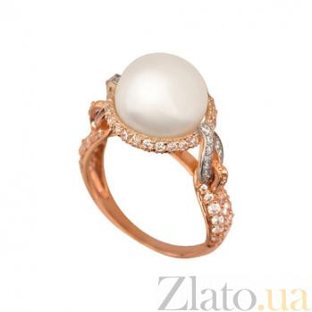 Золотое кольцо Мария-Антуанетта с жемчужиной и фианитами VLT--ТТТ1221