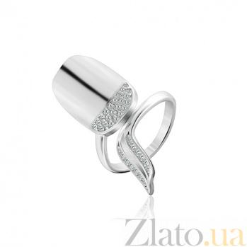 Серебряное кольцо-ноготь с цирконием Хилари 000028117