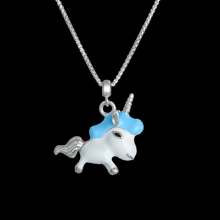 Детское серебряное колье Единорог с эмалью 000080687