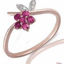 Кольцо из красного золота Флавин с бриллиантами и рубинами