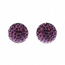 Серебряные пуссеты-шары Блеск с малиновыми кристаллами Swarovski