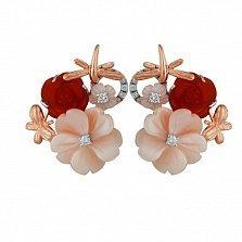 Золотые серьги Делорис с бриллиантами, красным агатом и розовым перламутром