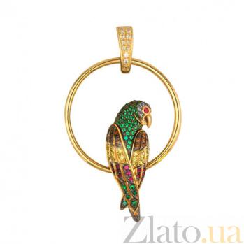 Золотая подвеска Попугай VLT--ТТ3391-1