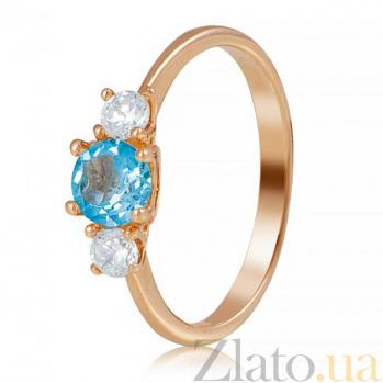 Золотое кольцо с топазом Повелительница морских глубин EDM--КД4025топ