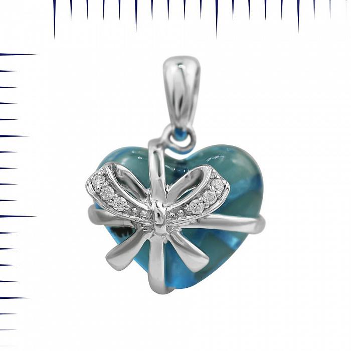 Подвес из белого золота Сердце в подарок с бриллиантами и голубым топазом 000081056