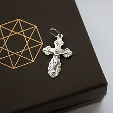Золотой крестик в белом цвете Небесный ангел