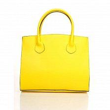 Кожаная деловая сумка Genuine Leather 8983 желтого цвета на магнитной кнопке с подвеской из кожи