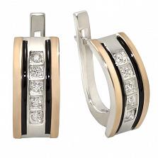 Серебряные серьги с золотыми вставками и цирконием Мадонна