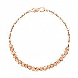 Браслет из красного золота с шариками и алмазной гранью 000131611