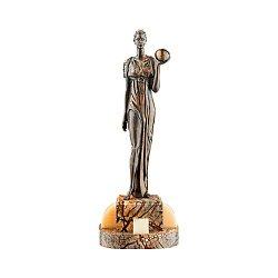 Бронзовая скульптура Урания на подставке из яшмы и оникса 000051947