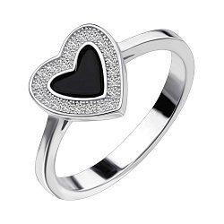 Серебряное кольцо с черной эмалью и белыми фианитами 000100794