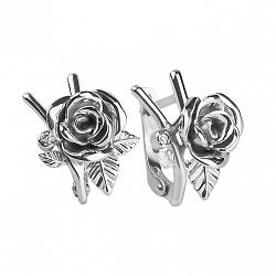Серебряные серьги Розарий с фианитами и чернением