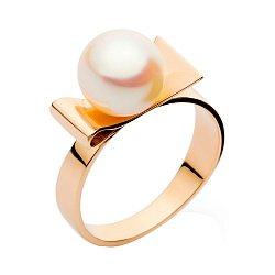 Золотое кольцо Венера с белой жемчужиной на бантике 000008464