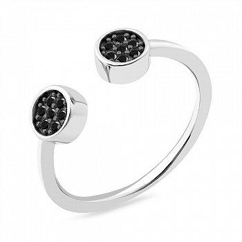 Серебряное кольцо с черными фианитами 000150117