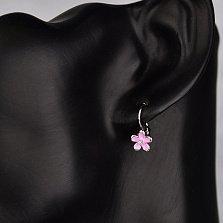 Серебряные серьги Милые цветочки с фианитами и розовой эмалью