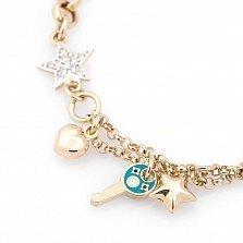 Золотой браслет Кассиопея с фианитами и цветной эмалью