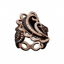 Золотое кольцо с раухтопазом и бриллиантами Виконтесса
