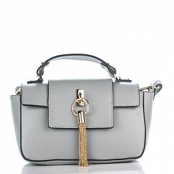 Кожаный клатч Genuine Leather 3232 серого цвета с короткой ручкой и декоративной кисточкой