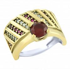 Кольцо из серебра и бронзы Джамала с рубинами и фианитами