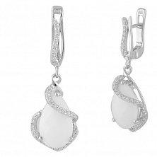 Серебряные серьги-подвески Люсьена с белым агатом и фианитами