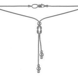 Серебряное колье Идиллия в разреженом плетении мягкий снейк с декоративными бусинами