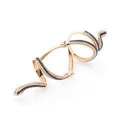 Золотое кольцо на две фаланги Змейка с черными, белыми и зелеными фианитами