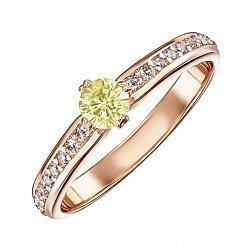 Золотое кольцо Полина в красном цвете с желтым и белыми кристаллами Swarovski