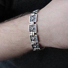 Серебряный браслет Всевидящее око с литыми квадратными звеньями, 15мм