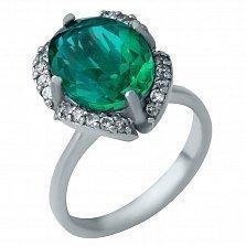 Серебряное кольцо Максимум с синтезированным зеленым кварцем и фианитами