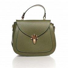 Кожаный клатч Genuine Leather 8833 темно-зеленого цвета с короткой ручкой и металлическим замком