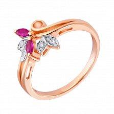 Золотое кольцо в красном цвете с бриллиантами и рубинами Фия